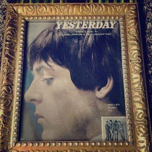 "Vintage Framed Sheet music from ""Yesterday"" 💕🙂"